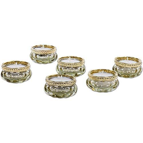 Koyal Wholesale Bloom Tea Light Holders, 6-Pack Petite Glass Tealight Cup, Gold Mercury with Gold Rim Vintage, Boho Wedding Tealight -