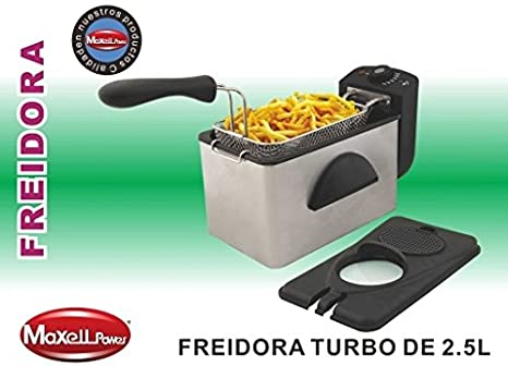 FREIDORA ELECTRICA 2,5L ACERO INOXIDABLE 1600W DESMONTABLE CON VENTANA (Gris)
