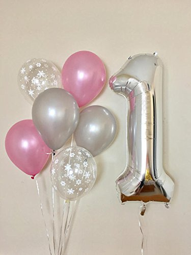 First Birthday Winter Theme Number 1 Silver 40 foil Balloon with 12ct 12 3.2g Pearl Light Pink Balloon, 12ct Pearl Silver Balloon and 12ct Clear Snowflake Print Balloon