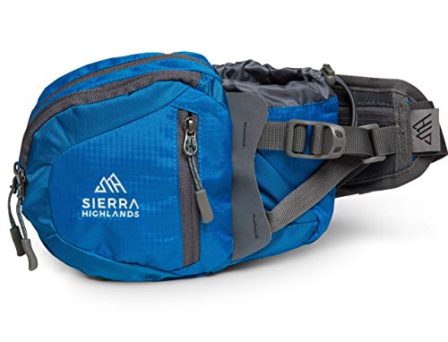 Sierra Highlands Marlette Hiking Fanny Pack Waist Bag with Water Bottle Holder/Carry Your Cell Phone, Sunscreen, Keys, Wallet, and More! (Blue)