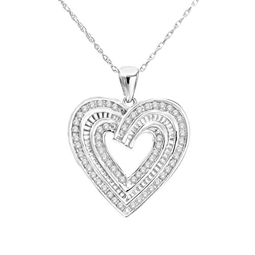 (NATALIA DRAKE White Gold Rhodium Plated Sterling Silver Diamond Heart Necklace Pendant (0.50ctw Heart))
