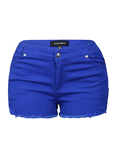 Colored Denim Short - Instar Mode Womens Mid Waist Casual Denim Shorts (SJ22116 Royal, Medium)