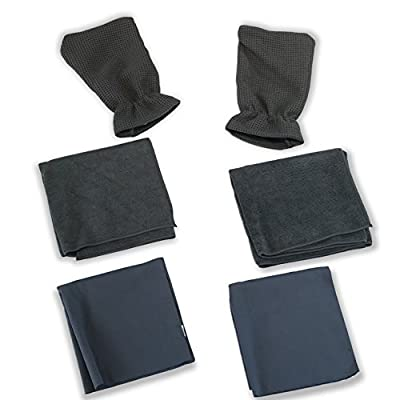Car Kleen Wash n' Dry Microfiber Towel Kit - Two WaffleTuff Hand Mitts - Two Drying Towels - Two Finishing Towels - Clean with or Without Soap - Six Piece Set Deep Cleaning Microfiber Towels: Automotive