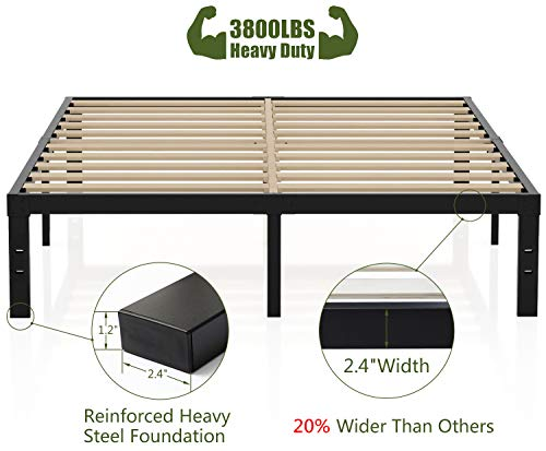 3800lbs Heavy Duty,14 Inch Steel & Wooden Slat Support Reinforced Platform Bed Frame,Mattress Foundation/No Box Spring Needed/Easy Assembly/Noise Free,Twin/Twin XL/Full/King/California King (Queen)