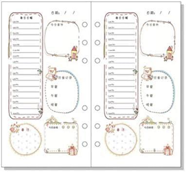 A6 Tagebuch Loseblatt Refill Filler Papier Farbige Spirale Notebook Ersatzkern für 6 Ringe Binder of Sunsline (Zeitplan)
