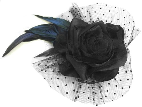 Fashion Elegant Lace Ribbon Rosette Flower Bow with Feather Accent Fascinator Hair Clip/Brooch Pin - Feather Rosette