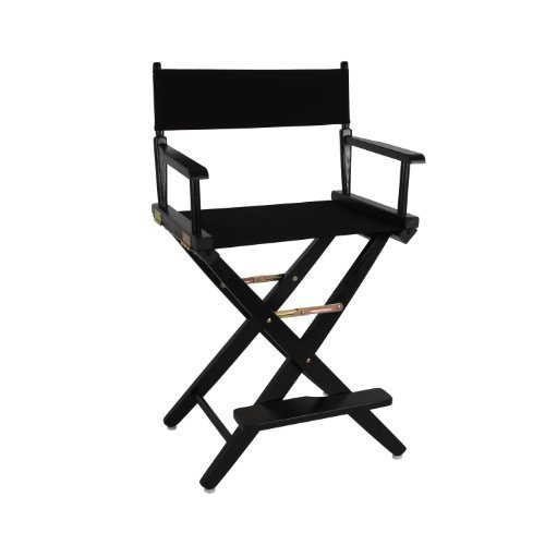 "American Trails Extra-Wide Premium 24"" Director's Chair Black Frame with Black Canvas, Counter Height"
