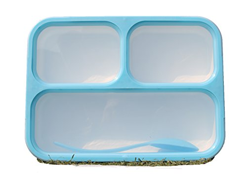 Lunch Box Bento Box - Fashion Rectangle Grid Leak-proof Food Container for Adults & Kids - 1000 ml 3 or 4 Compartments with a Spoon - BPA-free Microwave-safe Boxes (Blue) ()