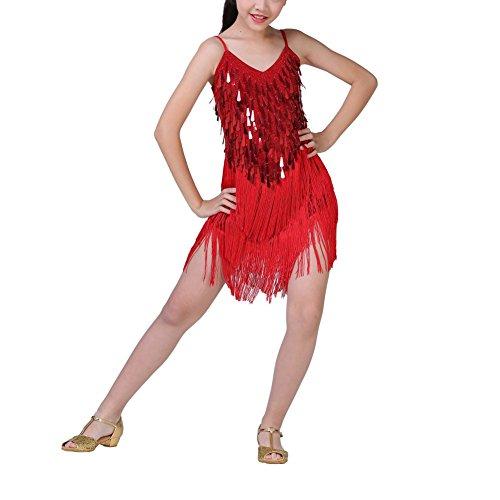 Zhengpin Girls Latin Dance Dress Kids Sequin Tassel