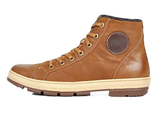 Sunrolan Pete Mens Äkta Läder Vintage Stil Spets-up Höga Högsta Mode Sneakers Ny Ljusbrun