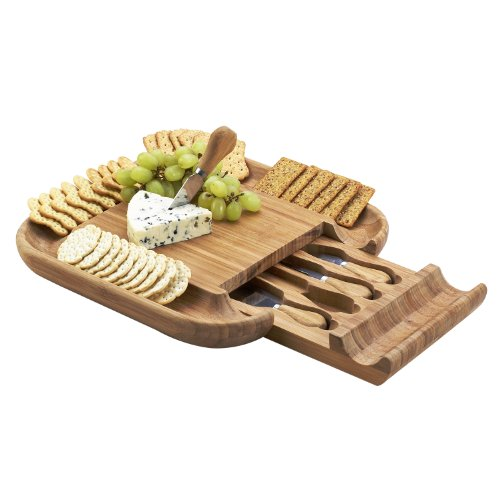Picnic at Ascot - The ORIGINAL Malvern Bamboo Cheese Board Set - Deep Cracker Tray Rim, Hidden Drawer, 4 serving tools.