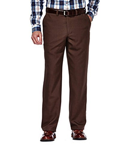 Haggar Clothing Mens Sustainable Stretch Chino Flat Front Straight Fit Pants (32x29, Brown Heather)