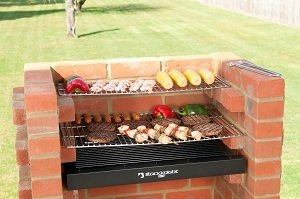 Built In Grill 410 sq in with Stainless Steel cooking grates BKB403 Brick Bbq Grill Kit with Warming Rack & Cover by Black Knight