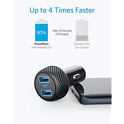 Car Charger (Compatible with Quick Charge Devices), Anker 30W Dual USB Car Charger, PowerDrive Speed 2 with PowerIQ 2.0 for Galaxy S8/Edge/Note, iPhone Xs/Max/XR/X/8, iPad Pro/Air 2/Mini, and More