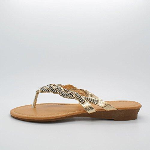 l'arrière Or doré femme London Footwear Ouvertes à qnWznFZT