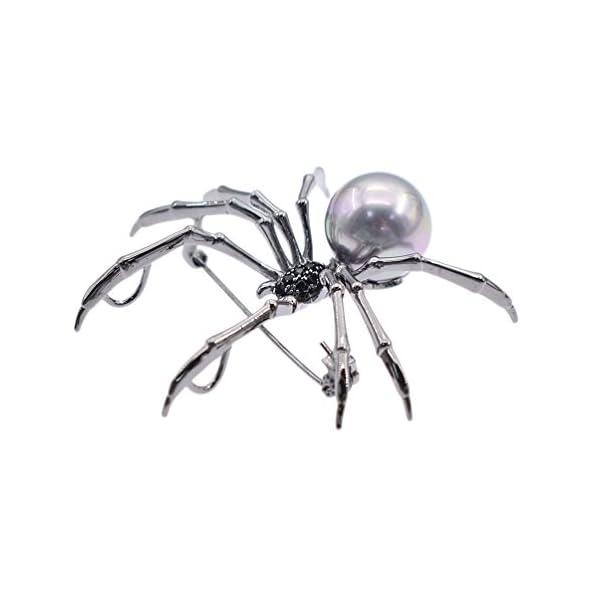Qlychee Victorian Spider Brooch Rhinestone Body Breastpin Pearl Steampunk Jewelry Gift 5