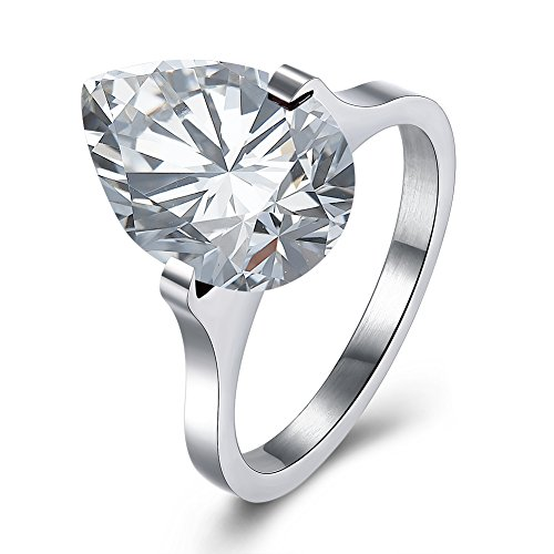 UNISS Stainless Steel Pear Cut Solitaire CZ Engagement Cubic Zirconia Ring Size 8