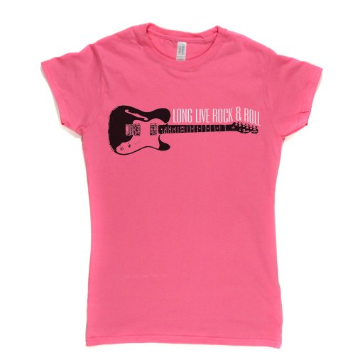 Long Live Rock & Roll Womens Fashion Fit T-shirt (fuschiapink/blackcolour xlarge)