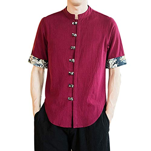 Stoota Men's Vintage Baggy Linen Henley Solid Half Sleeve T Shirts Tops Blouse Red ()