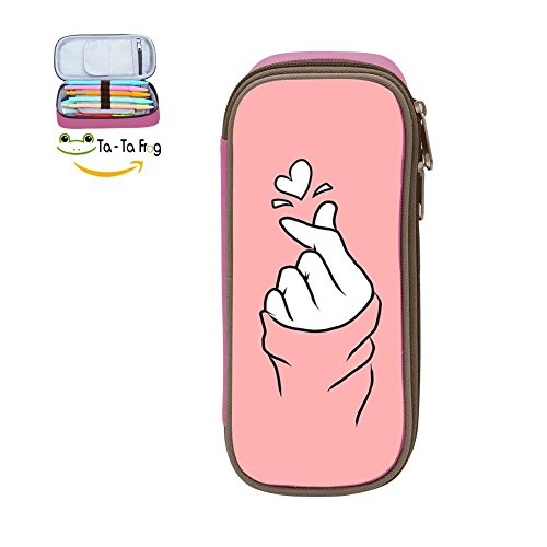 rtable Pink Finger Heart School Pen Bag Stationary Wearable Pouch for Student Makeup Cosmetic Bag Pink ()