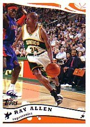 2005 06 Topps Seattle Supersonics Basketball Cards Team Set (9 Cards) Including Ray Allen, Luke Ridnour, and more 06 Topps Team Basketball Card