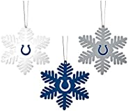 FOCO NFL Christmas Ornament Set - 3 Piece Multi-Colored Metal Snowflakes Holiday Tree Decoration – Show Your T