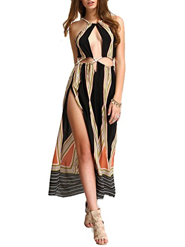 L&ZZ 2017 Women's New Boho Floral Halter Summer Beach Party Split Cover Up Dress (M, Multicoloured (Halter Dress Cover)