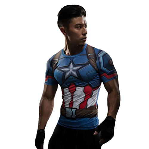 HOCOOL Men's Compression Fithness Tee,Captain America A Slim Gym Runing Shirt 3XL