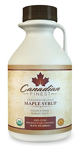 CANADIAN FINEST Maple Syrup | #1 Rated Maple Syrup on Amazon - 100% Pure Certified Organic Maple Syrup from Family Farms in Quebec, Canada - Grade A Dark (Formerly Grade B),16.9 fl oz (500mL) (Syrup Pure Organic Maple)