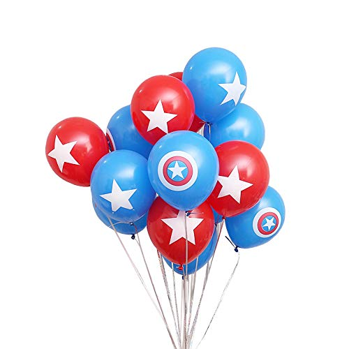 Astra Gourmet 24-Pack Red Blue Captain America Theme Balloons Superhero Balloons for Kids Birthday Party Favor Supplies Decorations - Large 12