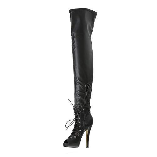 56be8b1fef3 VOCOSI Women's Over The Knee Thigh Black Boots Sexy Peep Toe ...