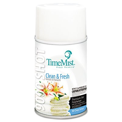 TimeMist 9000 Shot Metered Air Fresheners, Clean N' Fresh, 7.5Oz Aerosol, 4/Carton