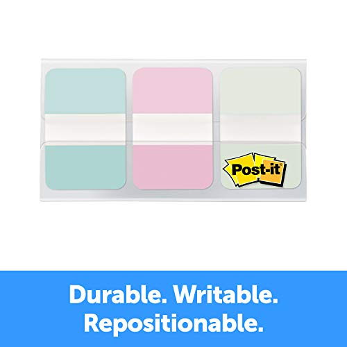 Post-it Durable Tabs, 1 in Wide, Assorted Pastel Colors (686-GRDNT), 36 Count
