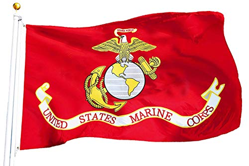 G128 - USMC US Marine Corps Flag 3x5 ft Printed United States Marine Corps Flag 2 Brass Grommets Quality Polyester Flag Indoor/Outdoor