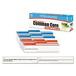 Common Core State Standard Pocket Chart Cards, Language Arts & Math, Grade 1, Sold as 1 Kit