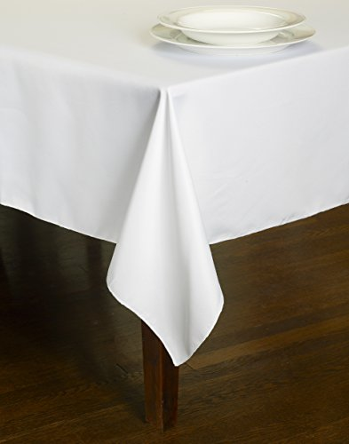 Chesna™ White Table Linen 60 X 126 Inch Polyester Washable Rectangular Oblong Tablecloth for Events, Parties, Weddings and Home (Linen Solid Tablecloth)