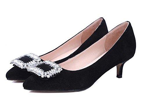 XIE Zapatos de Tacón para Mujer Zapatos de Tacón de Diamante con Diamantes de Tacón Fino, Pink, 41 BLACK-43