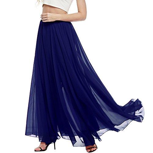 ELESOL Women's Lightweight Flowy Elastic Waist Dress Ladies Strechy Mesh Long Skirt Dark Blue/S