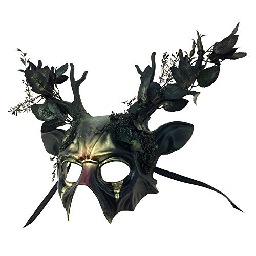Attitude Studio Metallic Green Forest Half Face Mask for Adults Costume - Antler ()