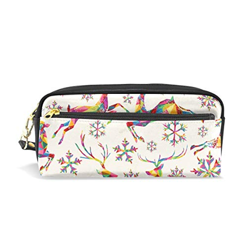 Pencil Case Retro Colorful Triangles Reindeer Snowflakes Large Capacity Pen Bag Stationery Pouch Stationary Case Makeup Cosmetic Bag