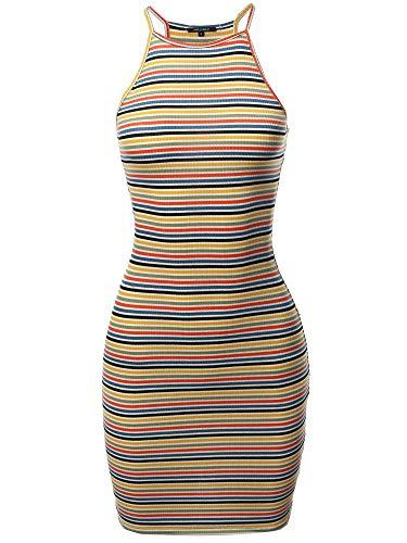 Awesome21 Stripe Print High Neck Ribbed Body-Con Mini Dress Rust Mustard ()