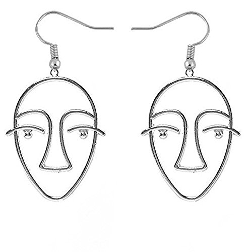 NOUMANDA Statement Human Face Shaped Earrings Hollow Out Dangling Earrings for Women - Face Shaped Long