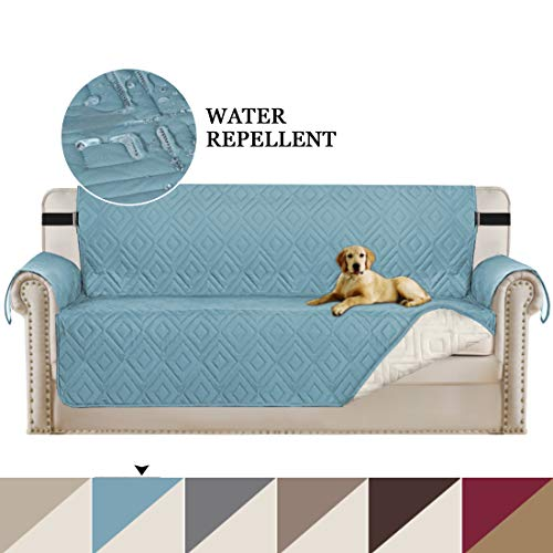 """Turquoize Reversible Sofa Covers Sofa Slipcover Furniture Sofa Protector with Adjustable Straps Furniture Cover Perfect for Kids, Dogs and Cats, Seat Width up to 66"""" (Blue/Beige, Sofa 75""""x110"""")"""