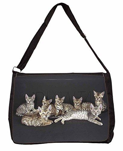 Bengal Kittens Posing for Camera Large 16 Black School Laptop Shoulder Bag