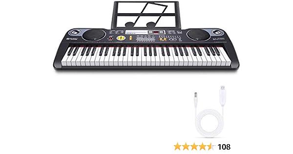 RenFox Teclado Musical Digital Electrónico portátil con 61 ...