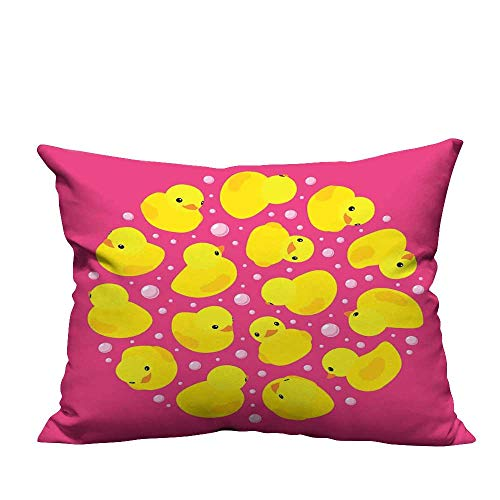 - warmfamily Simple Pillowcase Fun Baby Duckies Circle Artsy Pattern Kids Bath Toys Bubbles Animal Print CushionW23 x L23