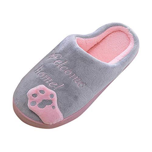 Limsea 2018 Winter Women Winter Home Slippers Cartoon Cat Non-Slip Warm Indoors Bedroom Floor Shoes 8-8.5 Grey