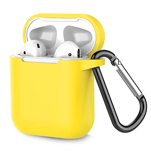 Airpods Case, Coffea AirPods Accessories Shockproof Case Cover Portable & Protective Silicone Skin Cover Case for Apple Airpods 2 &1 (Front LED Not Visible) - Lemon Yellow ()