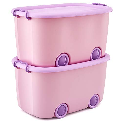 EZOWare Set of 2 Large Plastic Stackable Organizer Storage Box Container Bin with Lid and Wheels for Kids Toys, Clothes - Pink and Purple
