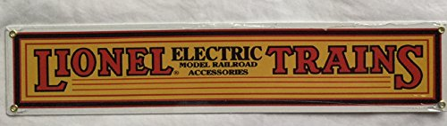 R&R Lionel Trains Metal Sign - Yellow Electric Retro Vintage Sign